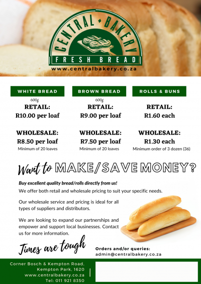 Central Bakery Bread Price List